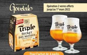 Lot de 2 verres offert pour l'achat de 4 packs de 6 bouteilles de bière Goudale Triple Secret des Moines blonde - 6x25 cl (via ODR)