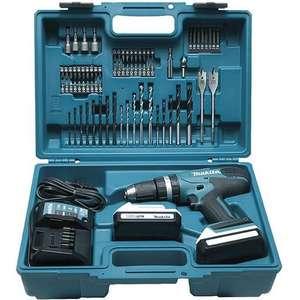 Coffret perceuse-visseuse sans-fil Makita HP457DWE1 (18 V) - 2 batteries 1.5 Ah + chargeur + 74 accessoires (batteries à empreinte spéciale)