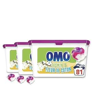 Lessive Capsules OMO 3 en 1 Jasmin et Fleur de Coton - 81 Capsules