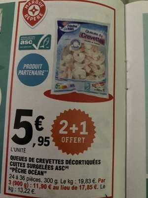 Lot de 3 paquets de queues de crevettes décortiquées cuites congelées Pêche Océan - 3 x 300g