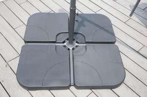 Lot de 4 dalles 15 L à lester pour parasol - 50 x 50 x 7 cm - HDPE - Noir
