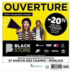 20% de réduction sur la création d'une carte de fidélité dans tout le magasin - Blackstore Morlaix (29)