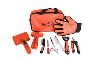 Kit d'accessoires pour animaux de compagnie : Brosse, Gant, Coupe-ongles, Lime, Ciseaux, Peigne et sac (vendeur tiers)