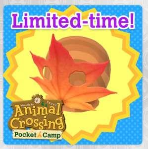 Masque feuille automne offert pour Animal Crossing : Pocket Camp sur Android & iOS (Dématérialisé)
