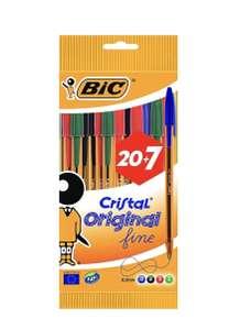 Pochette 27 stylos BIC Cristal Original Fine - Couleurs assorties (0,8 mm) - Couleurs Assorties - Corps Orange