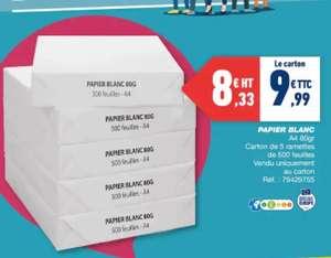Carton de 5 ramettes de 500 feuilles de papier blanc - A4