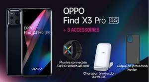 "Smartphone 6.7"" Oppo Find X3 Pro 5G - WQHD+, SD 888, 12 Go RAM, 256 Go + Oppo Watch, Chargeur sans fil, Coque en Kevlar"