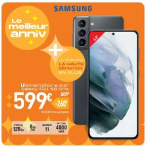 """Smartphone 6.2"""" Samsung Galaxy S21 5G - full HD+, Exynos 2100, 8 Go de RAM, 128 Go, gris"""