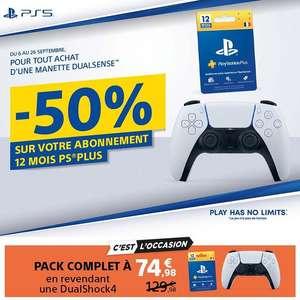 Manette sans fil Sony DualSense pour PS5 + Abonnement de 12 Mois au PS+ (74,98€ en revendant votre ancienne manette DualShock 4)