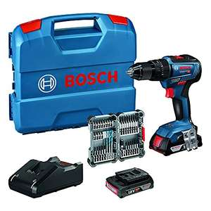 Perceuse-visseuse à percussion Bosch Pro GSB 18V-55 Brushless + L-case, 2 batteries de 2 ah, chargeur et 35 embouts (Occasion - Bon)