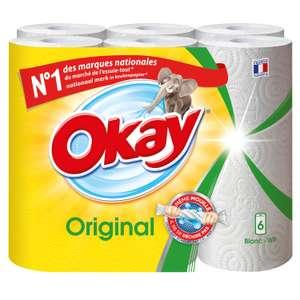Lot de 6 rouleaux d'essuie-tout Okay Original ou Décor (via 2.33 € sur la carte fidélité)