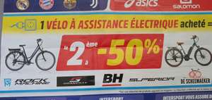 1 vélo électrique acheté parmi une sélection = 50% de réduction sur le 2ème (le moins cher) - sélection de magasins (22/35/44/56)
