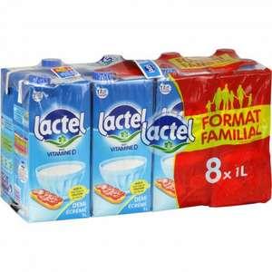 16 Briques de Lait Demi-écrémé Lactel - 2 x (8 x 1L)