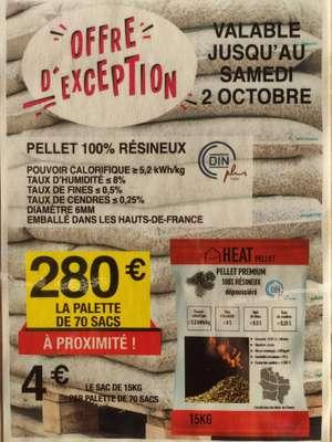 Palette de 70 sacs de pellet 100% résineux DinPlus de 15 kg - 70 x 15 kg (Chrétien Matériaux)