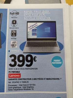 "PC portable 15.6"" IPS full HD Lenovo IdeaPad 3 15IML05 (i3-10110U, 8 Go de RAM, 256 Go en SSD, Windows 10) - sélection de magasins"