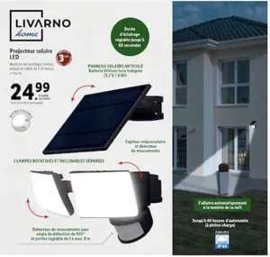 Projecteur solaire LED extérieur Livarno Home - 2 lampes inclinables / rotatives, avec détecteur de mouvements et de crépuscule