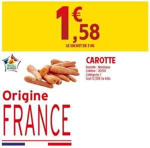 Sachet de 3kg de carottes nantaises Catégorie 1 Origine France