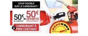 Carburant à prix coûtant + 2 bons d'achat de 25€ offerts dès 50€ de carburant acheté (valables dès 100€ d'achat)