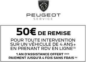 [Propriétaire de Peugeot de +4 ans] 50€ de réduction pour toute intervention en atelier d'un montant minimum de 300€ - peugeot.fr