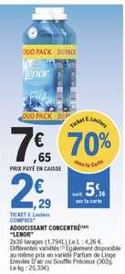 Lot de 2 adoucissants Lenor 39 lavages (via 5,36€ sur la carte fidélité)