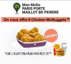 Une boîte de 6 Nuggets offerte pour l'achat d'un menu Maxi Best of - Click & Co. ou livr. seulement - Porte Maillot, Bld Peirere Paris (75)