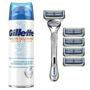 Kit Gillette : Rasoir Skinguard Aloé Vera + 5 Recharges + Gel à raser 200ml Skinguard Protection de la peau