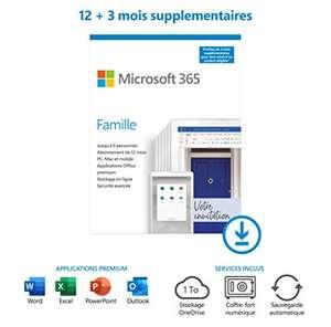 Abonnement Office 365 - 6 utilisateurs, 1 An + 3mois offerts + Norton 15mois