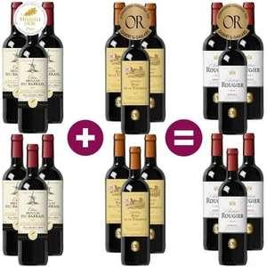 Lot de 18 bouteilles de vin rouge Bordeaux médaille d'or - 18 x 75 cl