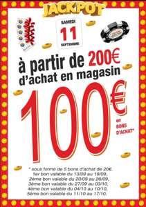 100€ offerts en bon d'achats dès 200€ d'achats (sous forme de 5x20€ & sous conditions) - Wattignies (59)
