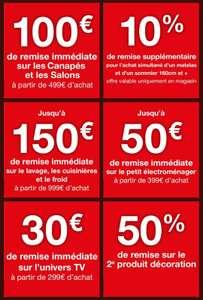 Sélection d'offres promotionnelles - Ex : 100€ de réduction dès 499€ sur les Canapés et les Salons