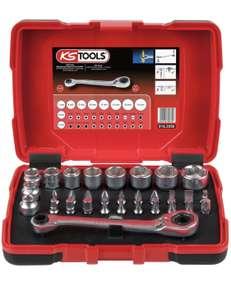 """Coffret de douilles traversantes KS Tools 918.3050 - 5 à 14mm et embouts de vissage 1/4"""" - Tête de cliquet inclinée à 15° - 32 pièces"""