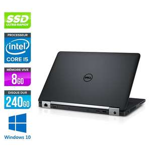 """PC portable 12.5"""" Dell Latitude E5270 - HD, i5-6300U, 8 Go de RAM, SSD 250 Go, Windows 10 Pro + sacoche (reconditionné)"""