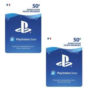 2 Cartes Playstation Store de 50€ (100€ au total, Dématérialisées)