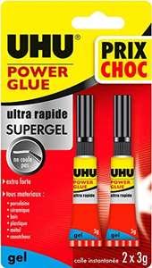 Paquet de 2 tubes de colle Glue Gel UHU Power - 2x3g