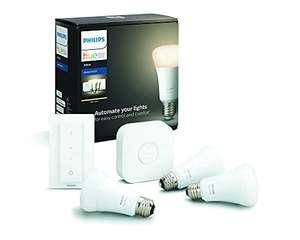 Kit de démarrage Philips Hue White E27 (3 ampoules + pont + interrupteur)