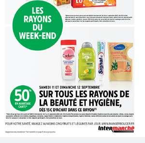 50% crédités sur la carte de fidélité sur les rayons Beauté & Hygiène (dès 15€ d'achat)