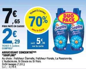 Lot de 2 adoucissants concentré Soupline - 1,6L (Via 5,36€ sur carte de fidélité)