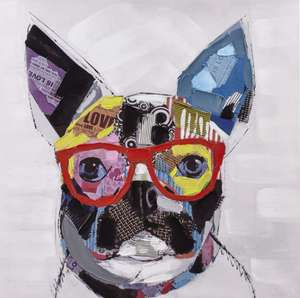Toile tendue sur chassis Funny Dog (80 x 80 cm)