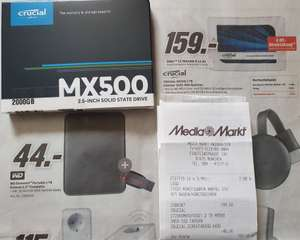 """SSD interne 2.5"""" Crucial MX500 (CT2000MX500SSD1) - 2 To, TLC 3D, DRAM (Frontaliers Allemagne)"""