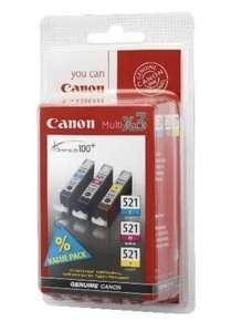 Cartouches d'encre Canon CLI-521 (Couleurs) - Jaune, cyan, magenta