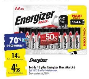 Lot de 16 piles Energizer Max - AA ou AAA (via 10.15€ sur carte fidélité)