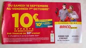 10€ offerts en bons d'achat par tranche de 50€ d'achat - Condé sur l'Escaut / Ecrouves (59 / 54)