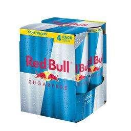 Pack de 4 canettes de Red Bull à base de taurine caféine sans sucres - 4x250 ml