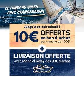 10€ offerts en bon d'achat tous les 100€ d'achat + livraison gratuite dès 99€ d'achat