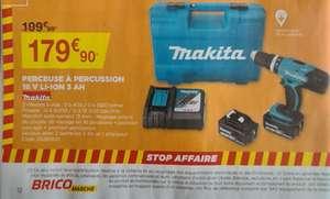 Perceuse à percussion Makita 18V + 2 batteries 3Ah + chargeur