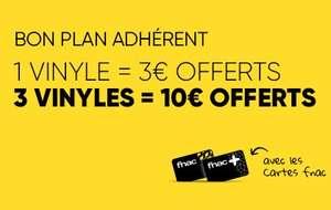 [Adhérents] 3€ offerts pour 1 vinyle acheté, 10€ offerts pour 3 sur une sélection de vinyles (Sur le compte Fidélité)