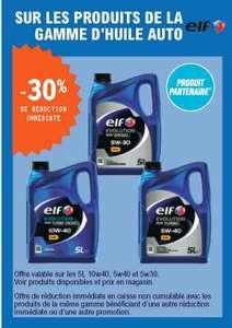 30% de réduction sur les bidons d'huile-moteur Elf Evolution 10W40, 5W40 ou 5W30 - 5 L
