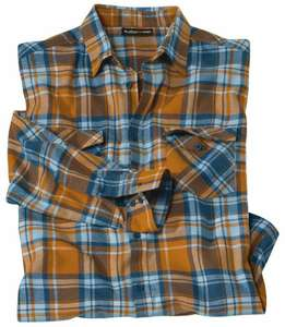 Chemise en flanelle écossaise - orange/bleu (du M au 5XL)
