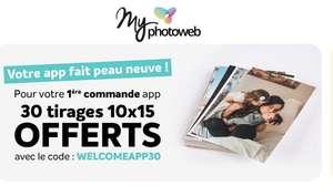 [Nouveaux clients] 30 Tirages 10x15 sur votre première commande via l'application mobile (MyPhotoweb, Frais inclus)