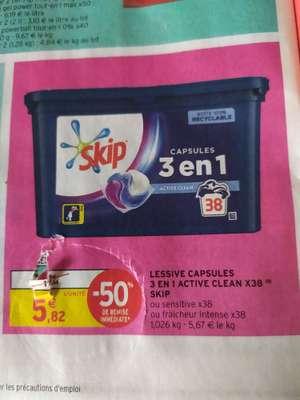 Boîte de 38 capsules de lessive Skip 3-en-1 Active Clean, Fraîcheur Intense ou Sensitive (via 5.82€ en fidélité) - Le Soler (66)